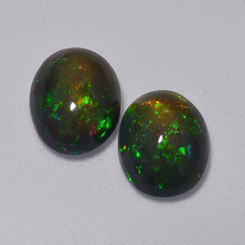 1.2ct Oval Cabochon Multicolor Black Opal Gem (ID: 516215)