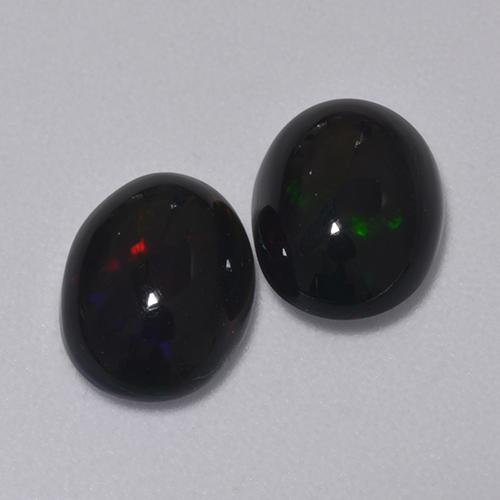 1ct Oval Cabochon Multicolor Black Opal Gem (ID: 516216)