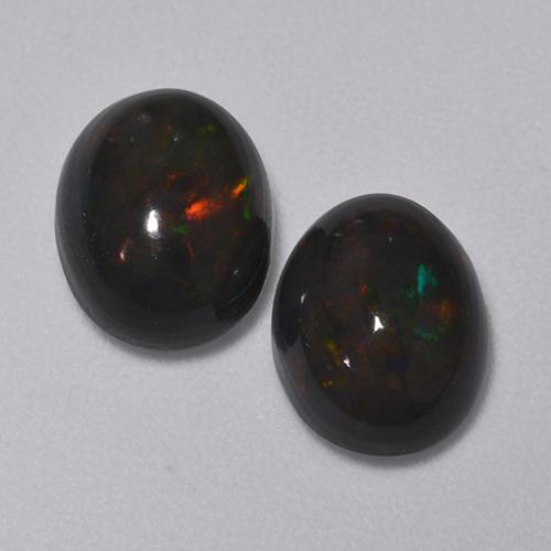1.4ct Oval Cabochon Multicolor Black Opal Gem (ID: 516217)