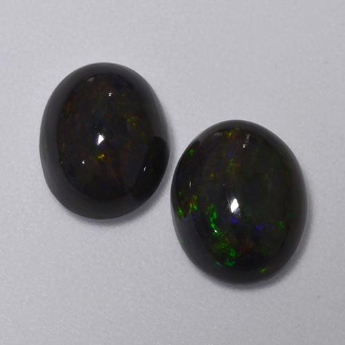 1.2ct Oval Cabochon Multicolor Black Opal Gem (ID: 516218)