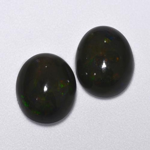 Multicolor Black Opal Gem - 1.3ct Oval Cabochon (ID: 516220)