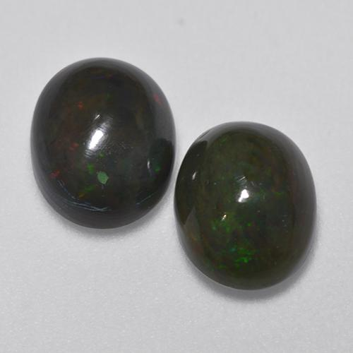 1.4ct Oval Cabochon Multicolor Black Opal Gem (ID: 516222)