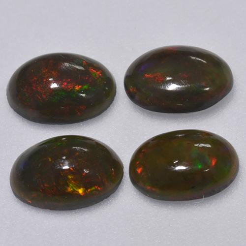 0.3ct Oval Cabochon Multicolor Black Opal Gem (ID: 516350)