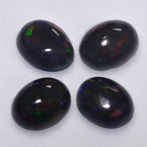 Multicolor Black Opal Gem - 0.2ct Oval Cabochon (ID: 516352)