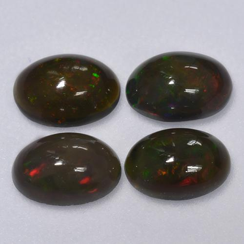Multicolor Black Opal Gem - 0.3ct Oval Cabochon (ID: 516356)