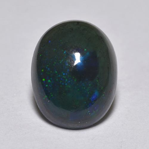 0.9ct Oval Cabochon Multicolor Black Opal Gem (ID: 517219)