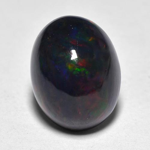 1.2ct Oval Cabochon Multicolor Black Opal Gem (ID: 517220)