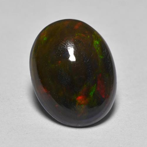 0.8ct Oval Cabochon Multicolor Black Opal Gem (ID: 517221)