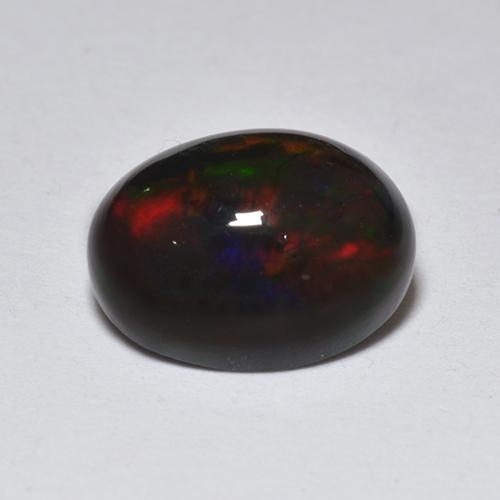 1.4ct Oval Cabochon Multicolor Black Opal Gem (ID: 518361)