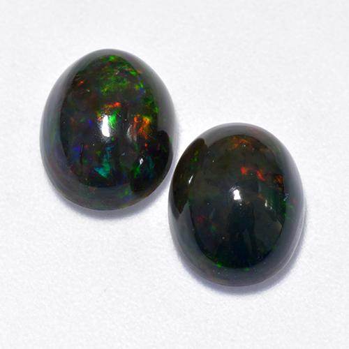 1.3ct Oval Cabochon Multicolor Black Opal Gem (ID: 518585)