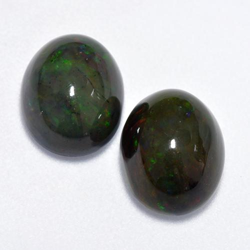 1.40 ct Ovale Cabochon Multicolore Opale Noir gemme 9.08 mm x 7.1 mm (Photo A)