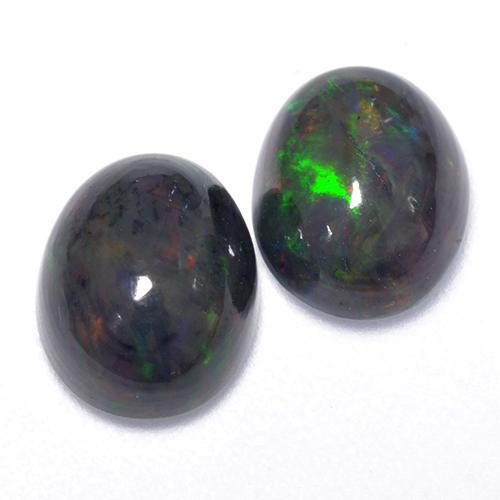 1.2ct Oval Cabochon Multicolor Black Opal Gem (ID: 518591)