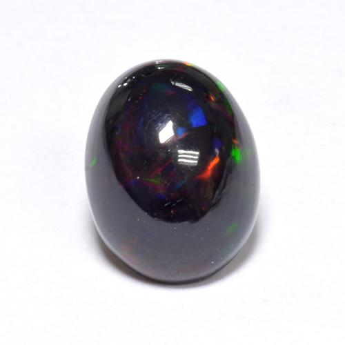 1.1ct Oval Cabochon Multicolor Black Opal Gem (ID: 519087)