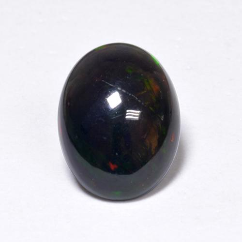 0.9ct Oval Cabochon Multicolor Black Opal Gem (ID: 519091)