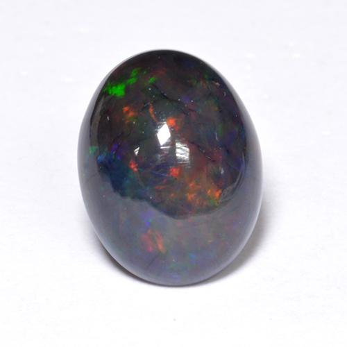 1.1ct Oval Cabochon Multicolor Black Opal Gem (ID: 519096)