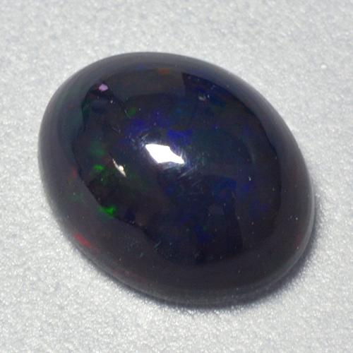 1.2ct Oval Cabochon Multicolor Black Opal Gem (ID: 519880)