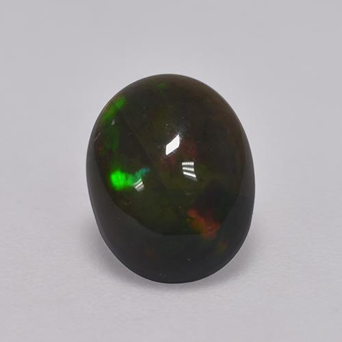 1ct Oval Cabochon Multicolor Black Opal Gem (ID: 529749)
