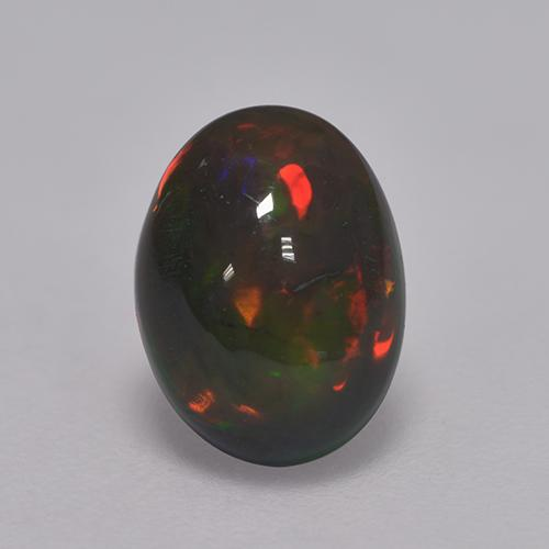 1.2ct Oval Cabochon Multicolor Black Opal Gem (ID: 529751)