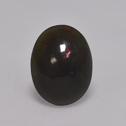 0.8ct Oval Cabochon Multicolor Black Opal Gem (ID: 529753)