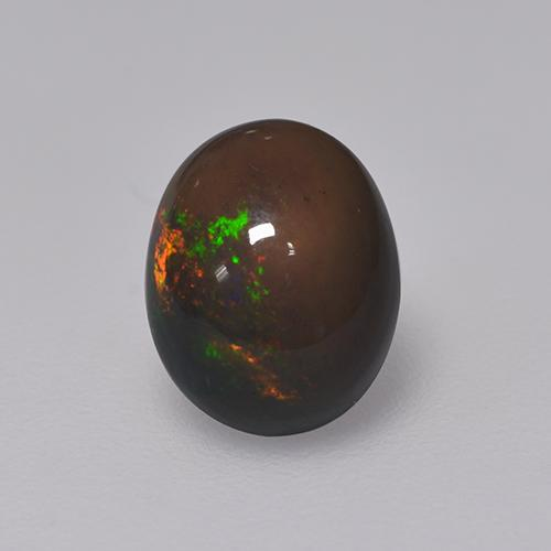 1.3ct Oval Cabochon Multicolor Black Opal Gem (ID: 529757)