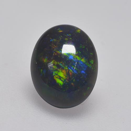 1ct Oval Cabochon Multicolor Black Opal Gem (ID: 530104)