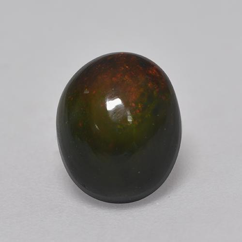 1.4ct Oval Cabochon Multicolor Black Opal Gem (ID: 530107)