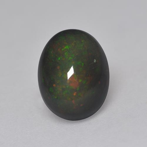 1.4ct Oval Cabochon Multicolor Black Opal Gem (ID: 530108)