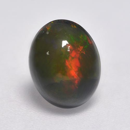 1.2ct Oval Cabochon Multicolor Black Opal Gem (ID: 530301)