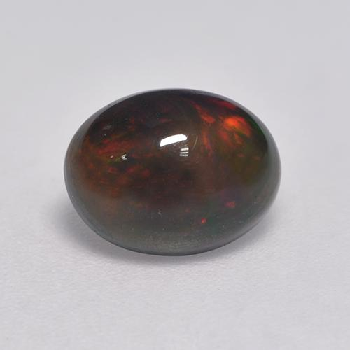 1.5ct Oval Cabochon Multicolor Black Opal Gem (ID: 530302)
