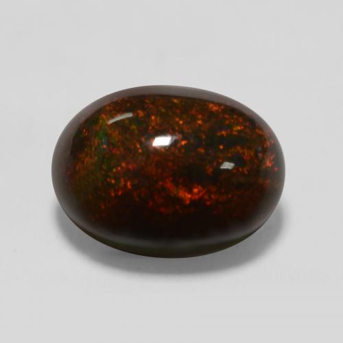 1.3ct Oval Cabochon Multicolor Black Opal Gem (ID: 538058)