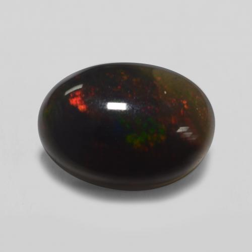 1.1ct Oval Cabochon Multicolor Black Opal Gem (ID: 538065)