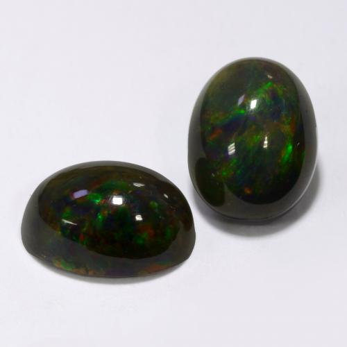 1.2ct Oval Cabochon Multicolor Black Opal Gem (ID: 538330)