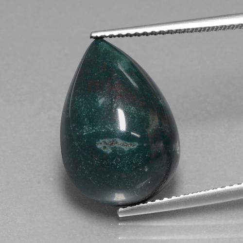 Spotted Green Bloodstone Gem - 11.5ct Pear Cabochon (ID: 408413)