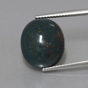 Spotted Green Bloodstone Gem - 11.3ct Oval Cabochon (ID: 408856)