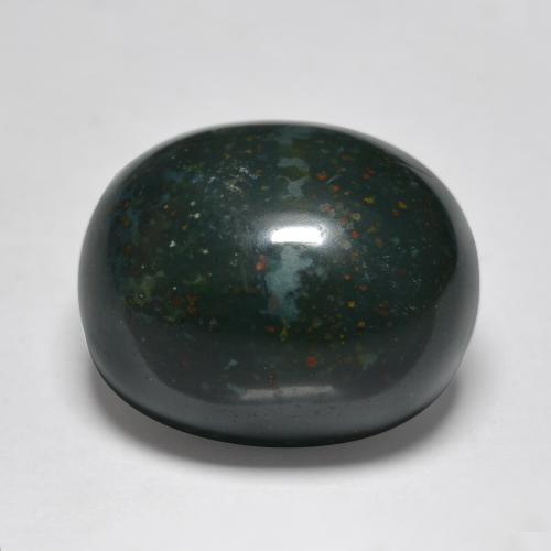 Multicolor Green Bloodstone Gem - 12.2ct Oval Cabochon (ID: 408857)