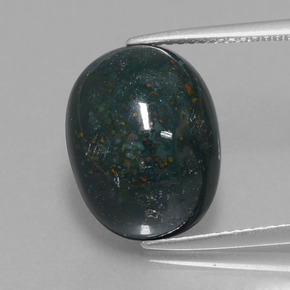 Spotted Green Bloodstone Gem - 11.1ct Oval Cabochon (ID: 409110)