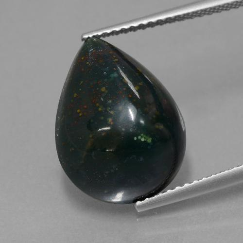 Spotted Green Bloodstone Gem - 8.7ct Pear Cabochon (ID: 409386)