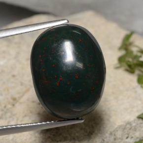 Green Bloodstone Gem - 19.6ct Oval Cabochon (ID: 474461)
