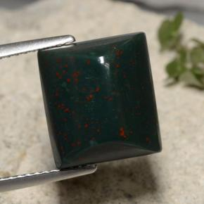 Deep Green Bloodstone Gem - 8.4ct Baguette Cabochon (ID: 474463)