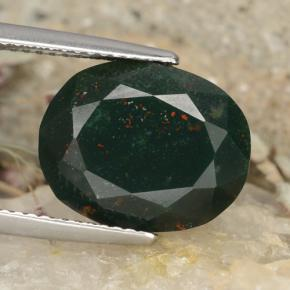 Forest Green Bloodstone Gem - 8.2ct Oval Facet (ID: 478357)