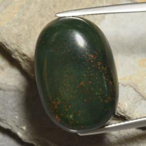 Green and Red Bloodstone Gem - 27ct Oval Cabochon (ID: 478494)