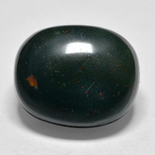 Spotted Green Bloodstone Gem - 22.3ct Oval Cabochon (ID: 478496)