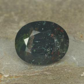 Spotted Green Bloodstone Gem - 5.7ct Oval Facet (ID: 478506)