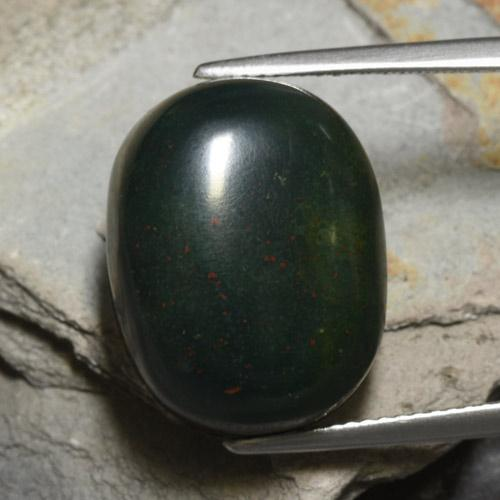 Spotted Green Bloodstone Gem - 18.2ct Oval Cabochon (ID: 478593)