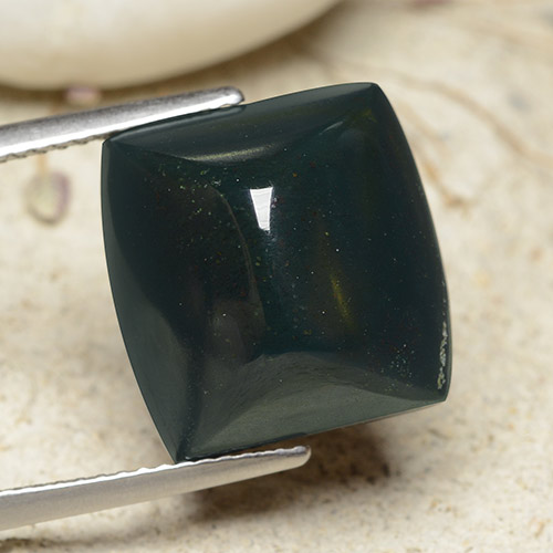 Spotted Green Bloodstone Gem - 14ct Cushion Shape Sugarloaf Cabochon (ID: 482100)