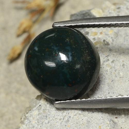Spotted Green Bloodstone Gem - 6.6ct Round Cabochon (ID: 482104)
