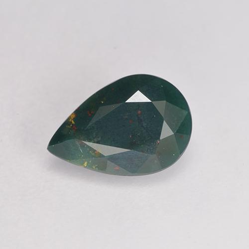 Multicolor Green Bloodstone Gem - 0.7ct Pear Facet (ID: 529557)