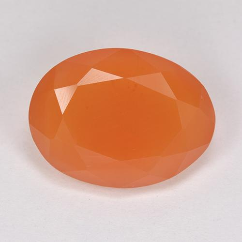 Warm Apricot Orange Carnelian Gem - 8ct Oval Facet (ID: 513214)