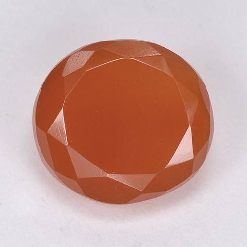 7.55 ct Oval Facet Light Red Carnelian Gemstone 13.66 mm x 12.4 mm (Product ID: 513406)