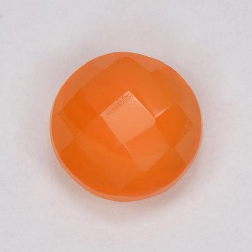 Orange Carnelian Gem - 1.1ct Round Checkerboard (Double-Sided) (ID: 514681)